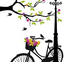 Old bicycle with lamp, flower basket, birds, tree by beakraus