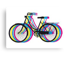 Colorful old bicycle silhouette Canvas Print