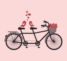 tandem bicycle with cute love birds Kids Clothes