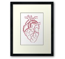"""Red human heart with text """"I love you"""" Framed Print"""