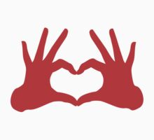 love, red hands with heart sign Kids Clothes
