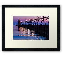 South Haven Lighthouse after Sundown with Reflections Framed Print