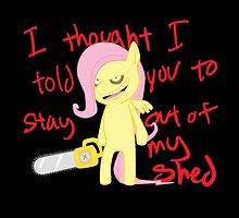 Fluttershy-Stay out of my shed by breakingraphics
