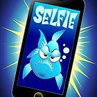Selfie Grumpy Fish Cartoon on Smartphone by BluedarkArt