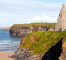 castle beach and cliffs in Ballybunion  by morrbyte