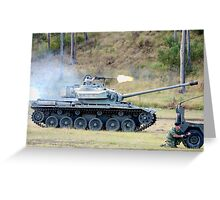Centurion Tank firing .50 caliber machine gun Greeting Card