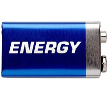 """9V battery isolated on white with written word """"energy"""" by odstrcil"""