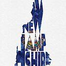 New Hampshire Typographic Map Flag by A. TW
