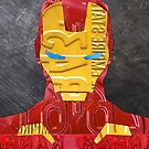 Iron Man Superhero Recycled License Plate Art by designturnpike