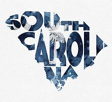 South Carolina Typographic Map Flag by A. TW
