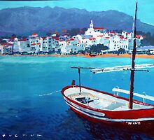 Spain Series 08 Cadaques Red Boat by Yuriy Shevchuk