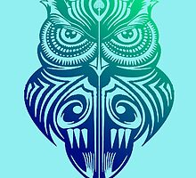 Symmetry Owl 506 - Version 1 (Green & Blue Blend) by Scarecrow506