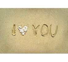 I love you written on wet sand on the beach Photographic Print