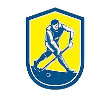 Field Hockey Player Running With Stick Shield Retro by patrimonio