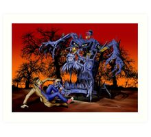 Weird Cursed British blue Phone box Monster Art Print