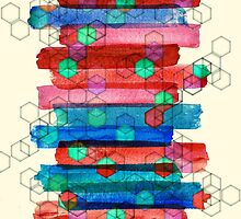 Shape Shifting & Shadow Boxing - watercolor stripes & hexagon pattern by micklyn