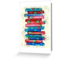 Shape Shifting & Shadow Boxing - watercolor stripes & hexagon pattern Greeting Card