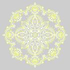Pale Lemon Yellow Lace Mandala on Grey by micklyn