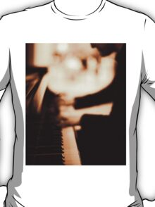 Pianist plays piano music in wedding marriage party silver gelatin black and white 35mm negative analog film sepia photo  T-Shirt