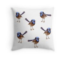 Blue Wrens, Russet and White Throw Pillow