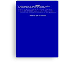 Windows blue screen of death BSOD Canvas Print