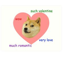 Doge Much Valentines Day Very Love Such Romantic Art Print