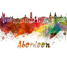 Aberdeen skyline in watercolor by paulrommer