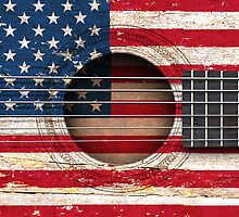 Old Acoustic Guitar with American Flag by Jeff Bartels