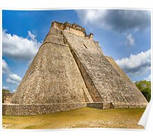 Ancient Mayan Pyramid Ruins At Uxmal In Mexico Poster