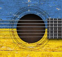 Old Acoustic Guitar with Ukrainian Flag by Jeff Bartels