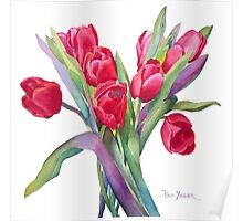 Springtime Red Tulips! Poster