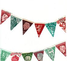 Deck The Halls Vintage World Stamp Flags by bluespecsstudio