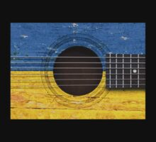 Old Acoustic Guitar with Ukrainian Flag T-Shirt