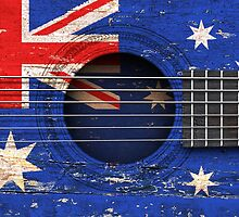 Old Acoustic Guitar with Australian Flag by Jeff Bartels