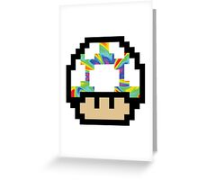Trippy 8-Bit Mushroom Greeting Card