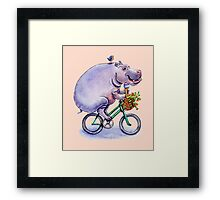 hippo on bicycle with icecream Framed Print