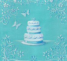 Blue and white wedding cake by lizblackdowding