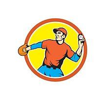 Baseball Pitcher Outfielder Throwing Ball Cartoon by patrimonio
