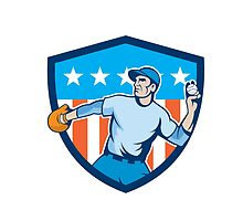 Baseball Pitcher Throwing Ball Shield Cartoon by patrimonio