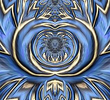 Mandala in Blue and Gold by John Edwards
