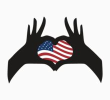 Hands Heart Symbol United States American Flag by TheShirtYurt