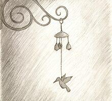 Hummingbird Wind Chime, Pencil Drawing by BubblegumLocks