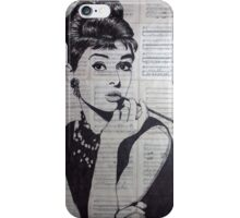 old book drawing famous people Audrey iPhone Case/Skin