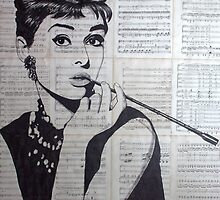 old book drawing famous people Audrey by #Palluch #Art