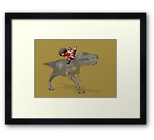 Santa Claus Riding A Trex Framed Print
