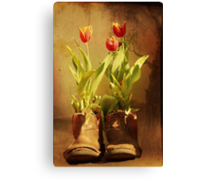 Tulips in Boots Canvas Print