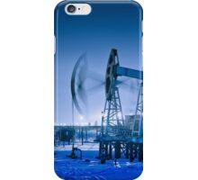 Winter night panoramic oil pumpjack. iPhone Case/Skin