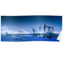 Winter night panoramic oil pumpjack. Poster