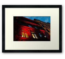 City Night Walks - the Red Facade Framed Print