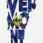 Vermont Typographic Map Flag by A. TW